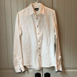 Zara Men's Medium Slim White Linen Shirt